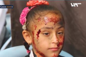 طفلة من غزة في مشهد تمثيلي