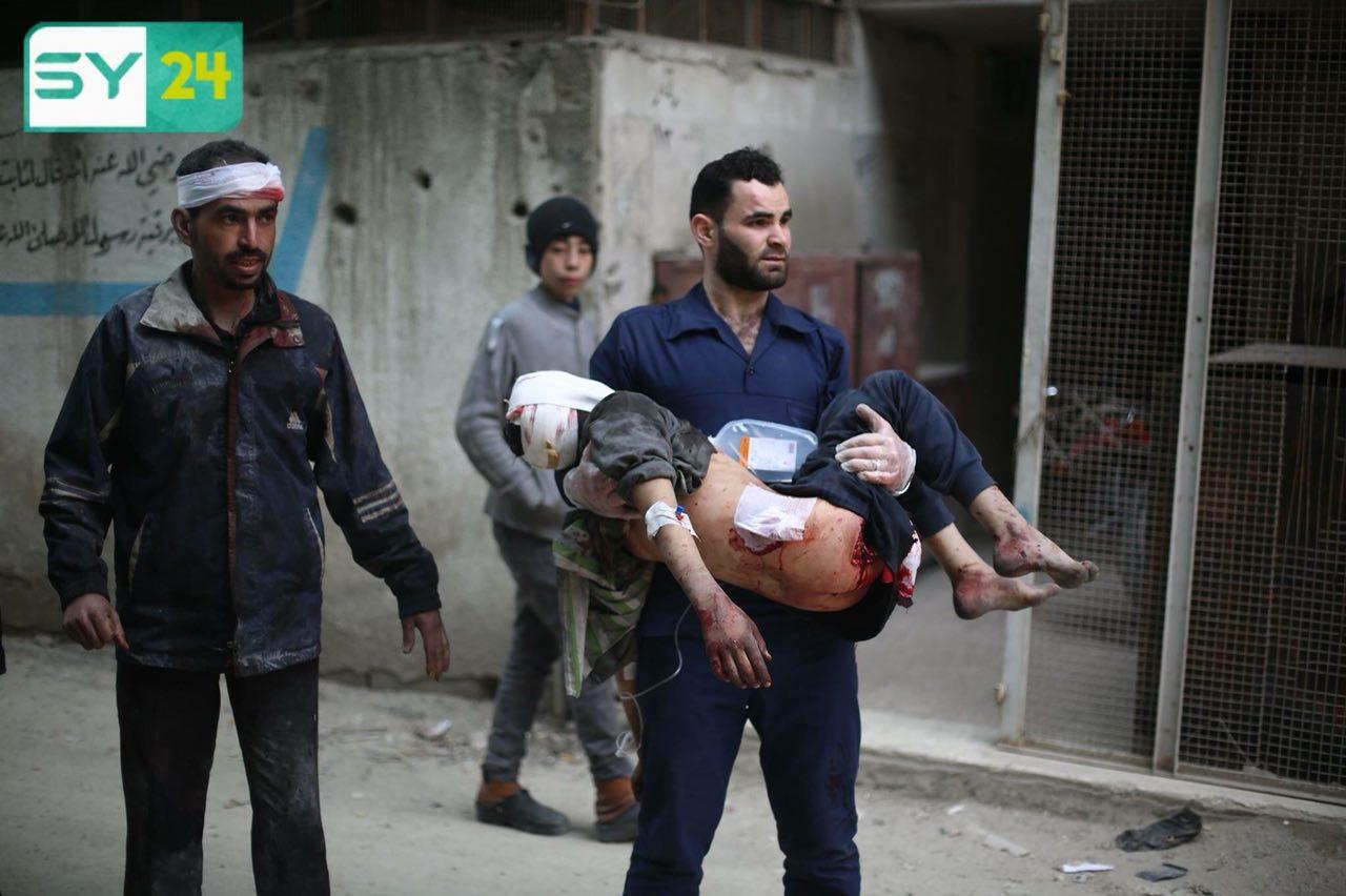 يوم دامي في الغوطة الشرقية، حيث قُتل 85 مدنياً وأُصيب المئات من النساء والأطفال