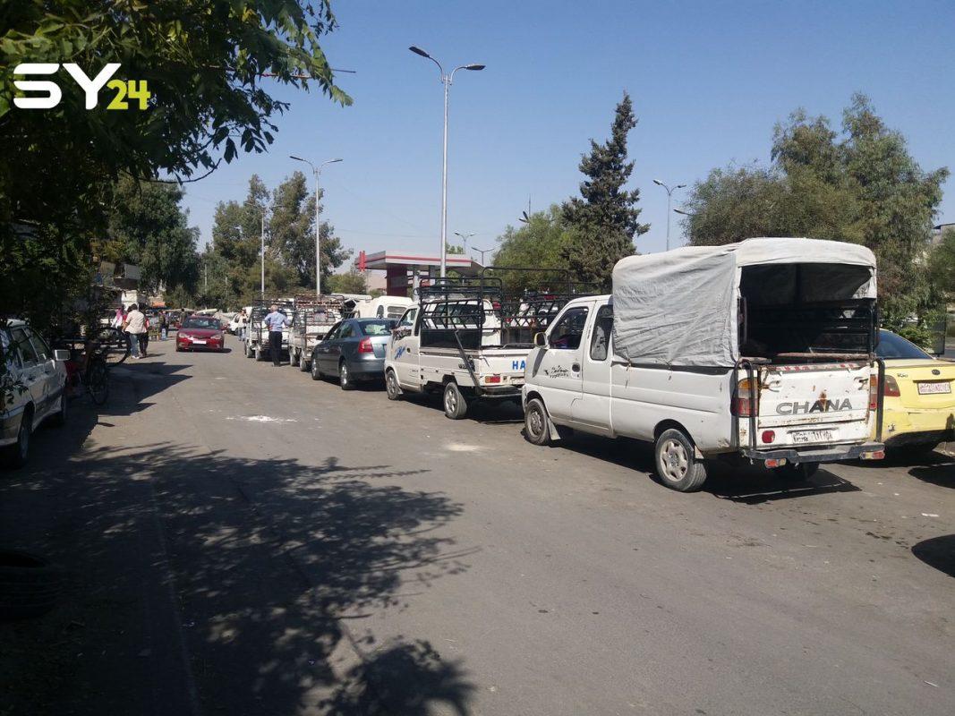 منصة SY24 تحصل على صور تظهر استمرار أزمة الوقود في مناطق سيطرة النظام بدمشق