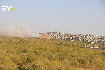 رصد جانب من القصف العنيف لجيش النظام على جبل الزاوية